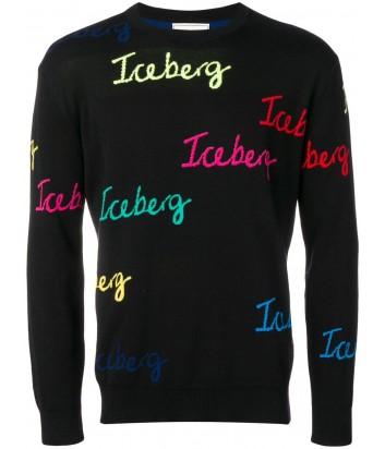 Черный свитер ICEBERG A0027604 с цветными логотипами