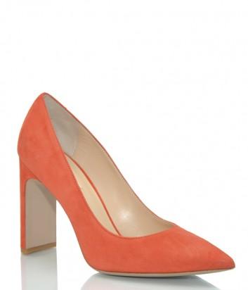 Замшевые туфли Fabio Rusconi Joh на широком каблуке красные
