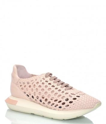 Кожаные кроссовки Paloma Barceló Buli с перфорацией розовые