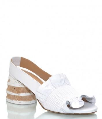 Белые кожаные босоножки Paloma Barceló Colotilde на фигурном каблуке