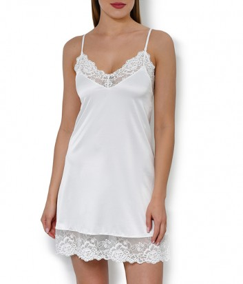 Атласная рубашка Janira Charm Greta 45260 с кружевными вставками кремовая
