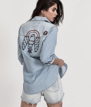 Джинсовая рубашка One Teaspoon 21752 с вышивкой на спине