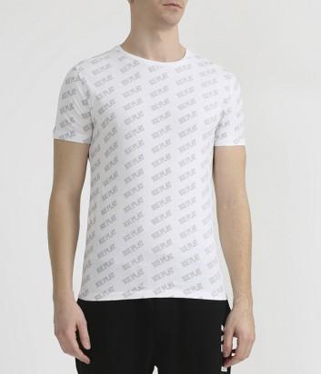 Белая футболка ICE PLAY F017P400 в мелкий принт логотипов