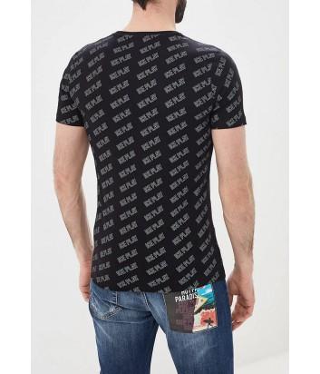 Черная футболка ICE PLAY F017P400 в мелкий принт логотипов