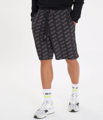 Черные шорты ICE PLAY 60026915 с мелким принтом логотипов