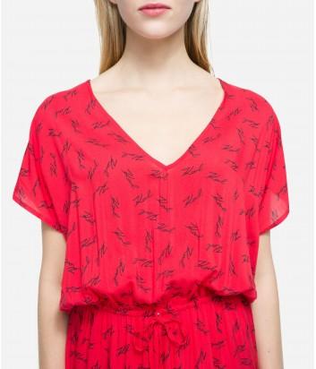 Длинное платье Karl Lagerfeld K19WCU12 красное с принтом