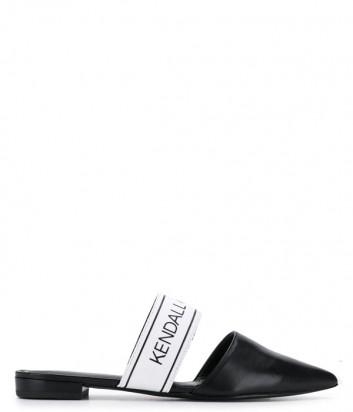 Черные кожаные мюли Kendall+Kylie Edie с брендированной вставкой