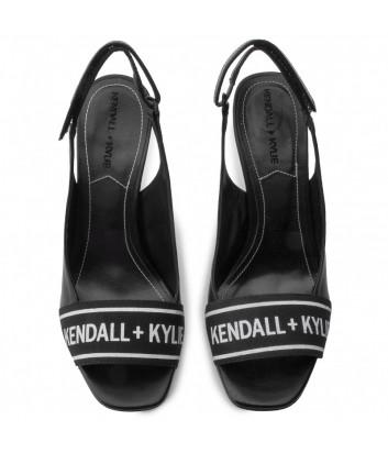 Черные кожаные босоножки Kendall+Kylie Molli с брендированной вставкой
