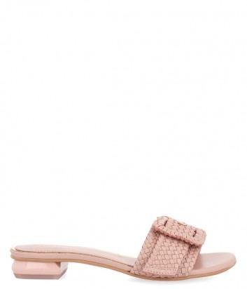 Кожаные шлепанцы Gioseppo 48320 на широком каблуке розовые