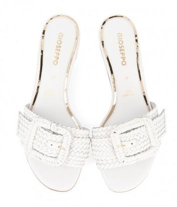 Кожаные шлепанцы Gioseppo 48320 на широком каблуке белые