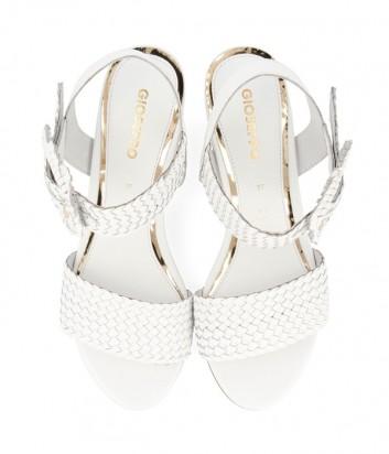 Кожаные босоножки Gioseppo 48319 на широком каблуке белые